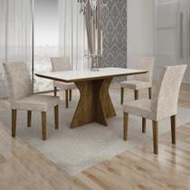 Conjunto de Mesa de Jantar Creta 4 Cadeiras BYYPP - Leifer