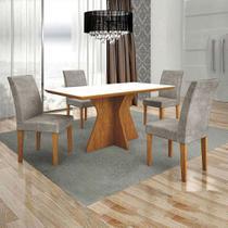Conjunto de Mesa de Jantar Creta com 4 Cadeiras Olimpia Veludo Ipê e Preto - Leifer