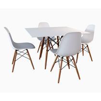 Conjunto De Mesa De Jantar Eames Eiffel Quadrada 90cm Tampo De Madeira Branco Com 4 Cadeiras Brancas - Up Home