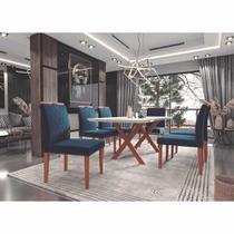 Conjunto de Mesa de Jantar Esmeralda 1,80m x 90cm com 06 Cadeiras Madenova Cestaplus -