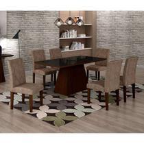 Conjunto de Mesa de Jantar Luna Com 6 Cadeiras Ane I Suede Animalle Castor, Preto e Chocolate - Rufato