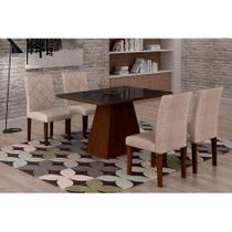 Conjunto de Mesa de Jantar Luna com Vidro e 4 Cadeiras Ane Suede Amassado Castor e Preto - Rufato