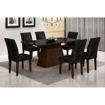 Conjunto de Mesa de Jantar Luna II com Vidro e 6 Cadeiras Grécia Suede Castor e Preto - Rufato