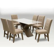 Conjunto de Mesa de Jantar Off White Dubai 1,60m MDF com 6 Cadeiras Castanho / Areia - Dobuê