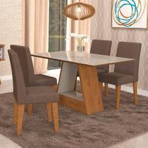 Conjunto de Mesa de Jantar Retangular Alana com 4 Cadeiras Milena Suede Chocolate e Off White - Cimol