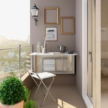 Conjunto de Mesa Dobrável com 2 Bancos Branco Cromado - Carraro móveis
