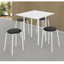 Conjunto de Mesa Dobrável com 4 Banquetas Expert Ciplafe Branco/Preto -