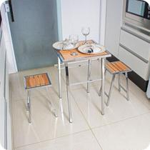 Conjunto De Mesa E 2 Bancos Cromado P/ Cozinha Pequena - MetalCromo