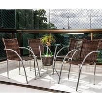 Conjunto de Mesa e 4 Cadeiras para Varanda CJMB401153-Alegro Móveis -