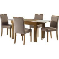 Conjunto de Mesa e 6 Cadeiras Horus, Pinhão e Off White -