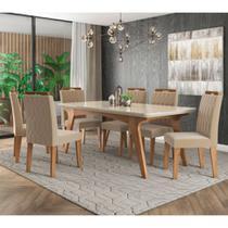 Conjunto de Mesa e Cadeiras Cimol Selena 180x90cm com 6 Cadeiras Paola/Nude - Savana/Off White -