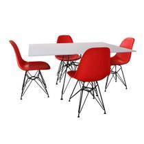 Conjunto De Mesa Eames Eiffel De Ferro Preto Tampo Branco 120x75 4 Cadeiras Ferro Preta Assento Verm - Up Home