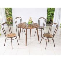 Conjunto de Mesa em Madeira 90 cm e 04 cadeiras Corten Modelo 5184 Flor de Lis - Modecor