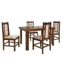 Conjunto de Mesa Essência Madeira Maciça com 4 Cadeiras Carisma - Castanho - Prime