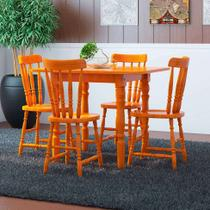 Conjunto de Mesa Extensível Andreia com 4 Cadeiras Mel - Mobly