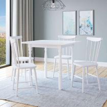 Conjunto de Mesa Extensível Andreia com 4 Cadeiras Udine Branca - Mobly