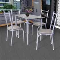 Conjunto de Mesa Genebra com 4 cadeiras Lisboa Branco acento Nature Fabone -