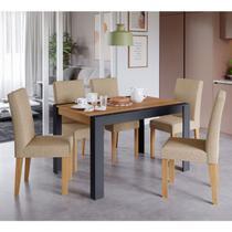 Conjunto de Mesa Grace 130 cm com 6 Cadeiras Maia Cimol Chumbo/Nature/Gengibre - Cimol Moveis