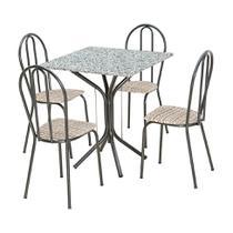 Conjunto de Mesa Granito Artefamol Thais Base 3009 Cromo Preto com 4 Cadeiras 004 Rattan -