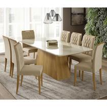 Conjunto de Mesa Helena 210 cm com 8 cadeiras Juliana Cimol Nature/Off White/Madeira/Nude - CIMOL MOVEIS
