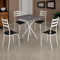 Conjunto de Mesa Itália 0,70m Tampo Granito Com 4 Cadeiras 591/13 Madmelos Branco / Preto -