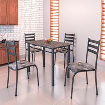 Conjunto de Mesa Itália 1,00m Tampo Granito com 4 Cadeiras 591/15 Madmelos Craquelado Dark / Folha -