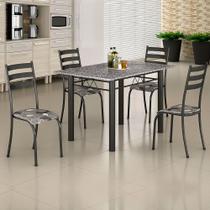 Conjunto de Mesa Itália 1,20m Tampo Granito com 4 Cadeiras 591/15 Madmelos Craquelado Dark / Folha -