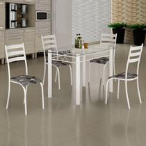 Conjunto de Mesa Itália 1,20m Tampo Vidro com 4 Cadeiras 591/15 Madmelos Branco / Folha -