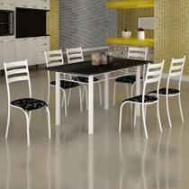 Conjunto de Mesa Itália 1,40m Tampo Ardósia com 6 Cadeiras 591/13 Madmelos Branco / Preto Flor -