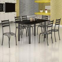 Conjunto de Mesa Itália 1,40m Tampo Ardósia com 6 Cadeiras 591/15 Madmelos Craquelado Dark / Folha -
