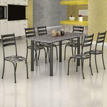 Conjunto de Mesa Itália 1,40m Tampo Granito com 6 Cadeiras 591/15 Madmelos Craquelado Dark / Folha -