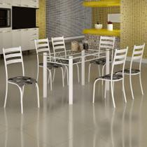 Conjunto de Mesa Itália 1,40m Tampo Vidro com 6 Cadeiras 591/15 Madmelos Branco / Folha -
