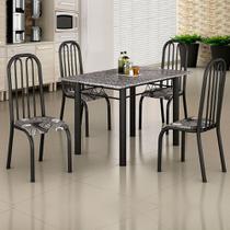 Conjunto de Mesa Janaina 1,20m Tampo Granito com 4 Cadeiras 260/15 Madmelos Craquelado Dark / Folha -