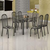 Conjunto de Mesa Janaina 1,40m Tampo Vidro com 6 Cadeiras 260/15 Madmelos Craquelada Dark / Folha -