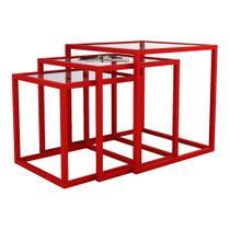 Conjunto de Mesa Lateral Trio Isabela Vermelha - Mundo móveis