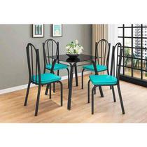 Conjunto De Mesa Lotus 75cm Com 4 Cadeiras 121 Artefamol Preto com Azul Turquesa -