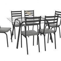 Conjunto de Mesa Lotus SF Preto Vidro Incolor De 1,40 cm Com 6 Cadeiras Preto Assento Platina Artefamol -