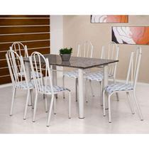 Conjunto de Mesa Luana com 6 Cadeiras Branca Capitonê - Artefamol