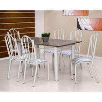 Conjunto de Mesa Luana com 6 Cadeiras Branca Linho - Artefamol