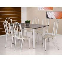 Conjunto de Mesa Luana com 6 Cadeiras Branca Rattan - Artefamol