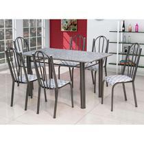 Conjunto de Mesa Luana com 6 Cadeiras Craqueado Preto Capitonê - Artefamol