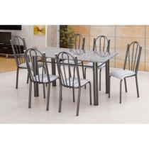 Conjunto de Mesa Luana com 6 Cadeiras Craqueado Preto Linho - Artefamol