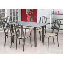 Conjunto de Mesa Luana com 6 Cadeiras Craqueado Preto Rattan - Artefamol