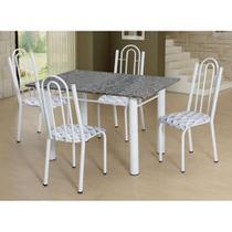 Conjunto de Mesa Luiza com 4 Cadeiras Branca Capitonê - Artefamol