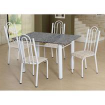 Conjunto de Mesa Luiza com 4 Cadeiras Branca Rattan - Artefamol