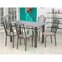 Conjunto de Mesa Luiza com 6 Cadeiras Craqueado Preto Rattan - Artefamol