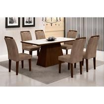 Conjunto de Mesa Luna com 6 Cadeiras Athenas Castor Branco Com Animalle Chocolate - Rufato