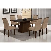 Conjunto de Mesa Luna com 6 Cadeiras Athenas Castor Preto Com Suedi Am. Chocolate - Rufato