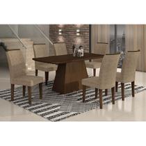 Conjunto de Mesa Lunara III 180 cm com 6 Cadeiras Suede Amassado Castor e Chocolate - Rufato