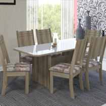Conjunto de Mesa Luxo 6 Cadeiras Estofadas 150cm MDF Cast/Off White - Megacasa - Indekes